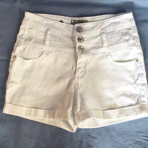 Celebrity Pink cuffed denim shorts white
